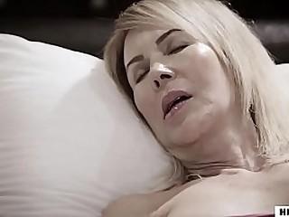 Ashley Adams and her creepy stepdad fuck next to the sleeping mom
