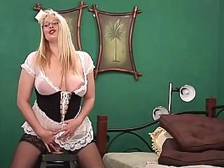 Slutty Step-mom enjoys riding her big dildo and squirting on Cam for you